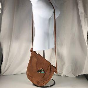 Tom Thomas croc embossed tan leather handbag